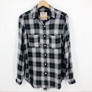 Mossimo Plaid Button Up Shirt Boyfriend Fit Black